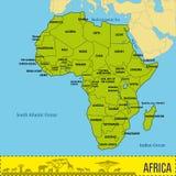 Översikt av Afrika med alla länder och deras huvudstäder stock illustrationer