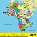 Översikt av Afrika med alla länder och deras huvudstäder vektor illustrationer