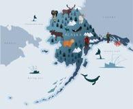 Översikt av Alaska med djur, eskimos, skogar, berg, jägare, fartyg, fisken och fiskare stock illustrationer