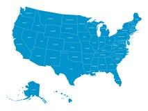 Översikt av Amerikas förenta stater med statliga namn Förenklad mörk grå konturvektoröversikt på vit bakgrund stock illustrationer