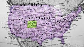 Översikt av Amerikas förenta stater som markerar det Colorado tillståndet arkivbild