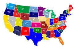 Översikt av Amerikas förenta stater USA med färgrika tillstånd med den kända illustrationen på vit bakgrund stock illustrationer