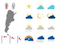 Översikt av Argentina med vädersymboler royaltyfri illustrationer