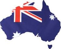 Översikt av Australien med flaggabakgrund royaltyfri fotografi