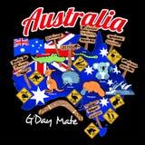 Översikt av Australien med nationflaggan och symboler royaltyfri illustrationer