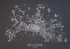 Översikt av bolognaen, Italien, satellit- sikt Arkivfoton