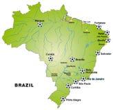 Översikt av Brasilien med fotbollsarenor i gräsplan Royaltyfri Fotografi