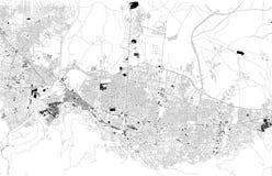 Översikt av Bursa, Turkiet, satellit- sikt, svartvit översikt askfat stock illustrationer