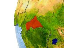 Översikt av centrala Afrika på modell av jordklotet Royaltyfri Fotografi