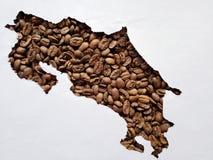översikt av Costa Rica med grillade kaffebönor och vit bakgrund royaltyfri fotografi