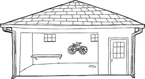 Översikt av cykeln i garage Arkivbilder