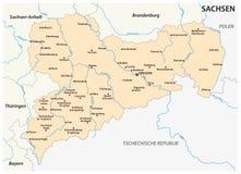 Översikt av den statliga Sachsen med de viktigaste städerna i tyskt språk Royaltyfri Bild