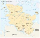 Översikt av den statliga Schleswig-Holstein med de viktigaste städerna Royaltyfria Bilder
