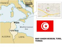 Översikt av det Bardo museet tunis Tunisien royaltyfri illustrationer