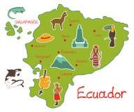 Översikt av Ecuador med typiska särdrag stock illustrationer
