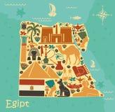 Översikt av Egypten med traditionella symboler stock illustrationer