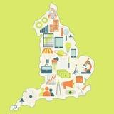 Översikt av England med teknologisymboler Arkivbilder
