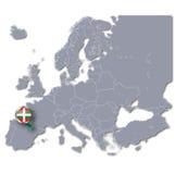 Översikt av Europa med det baskiska landet Arkivfoton