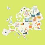 Översikt av Europa med teknologisymboler Royaltyfria Foton