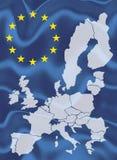 Översikt av europeisk union med den vinkande flaggan Arkivfoto