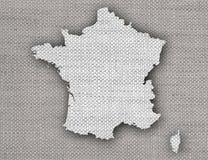Översikt av Frankrike på gammal linne Fotografering för Bildbyråer