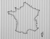 Översikt av Frankrike på korrugerat järn Royaltyfria Bilder