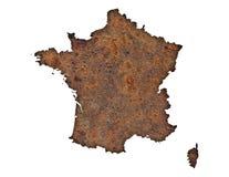 Översikt av Frankrike på rostig metall Royaltyfri Foto