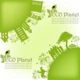 Översikt av gröna hus från träd Royaltyfri Bild