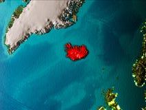 Översikt av Island på jord Royaltyfri Foto