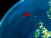 Översikt av Island på natten Arkivbild
