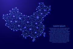 Översikt av Kina från polygonal blålinjen, glödande stjärnaillustration Royaltyfri Bild