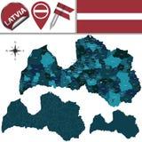 Översikt av Lettland med namngav uppdelningar Arkivbild