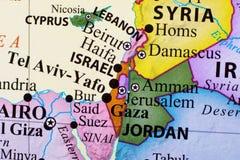 Översikt av Libanon, Israel, telefon-Aviv-Yafo, Gaza och Jordanien royaltyfri bild