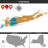 Översikt av Long Island royaltyfri illustrationer