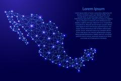 Översikt av Mexico från polygonal blålinjen, glödande stjärnavektorillustration Royaltyfri Foto