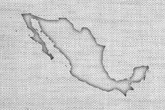 Översikt av Mexico på gammal linne Royaltyfri Fotografi