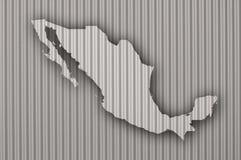 Översikt av Mexico på korrugerat järn Royaltyfri Bild