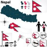 Översikt av Nepal royaltyfri illustrationer