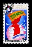Översikt av Nordkorea, 13th världsfestival av ungdom och studenter, Pyongyang I serie, circa 1988 Arkivfoton