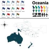 Översikt av Oceanien royaltyfri illustrationer