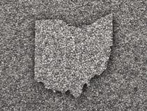 Översikt av Ohio på vallmofrön royaltyfri fotografi