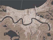 Översikt av staden av New Orleans, Louisiana, USA vektor illustrationer