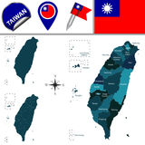 Översikt av Taiwan med namngav uppdelningar stock illustrationer