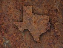 Översikt av Texas på rostig metall arkivbild