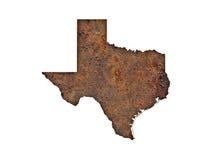 Översikt av Texas på rostig metall Arkivfoto