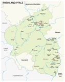 Översikt av tillståndet av den Rheinland-Pfalz översikten i tyskt språk Arkivbilder