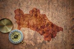 Översikt av turkmenistan på ett gammalt tappningsprickapapper Fotografering för Bildbyråer