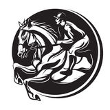 Översikt av tuschhästridningen, ridninghäst med jockeyn Fotografering för Bildbyråer