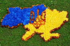 Översikt av Ukraina (konturer), vapensköld Ukraina (treudd) i blått Fotografering för Bildbyråer