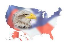 Översikt av USA, flaggan och den skalliga örnen Arkivfoto